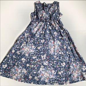 Eddie Bauer navy blue floral dress size 4